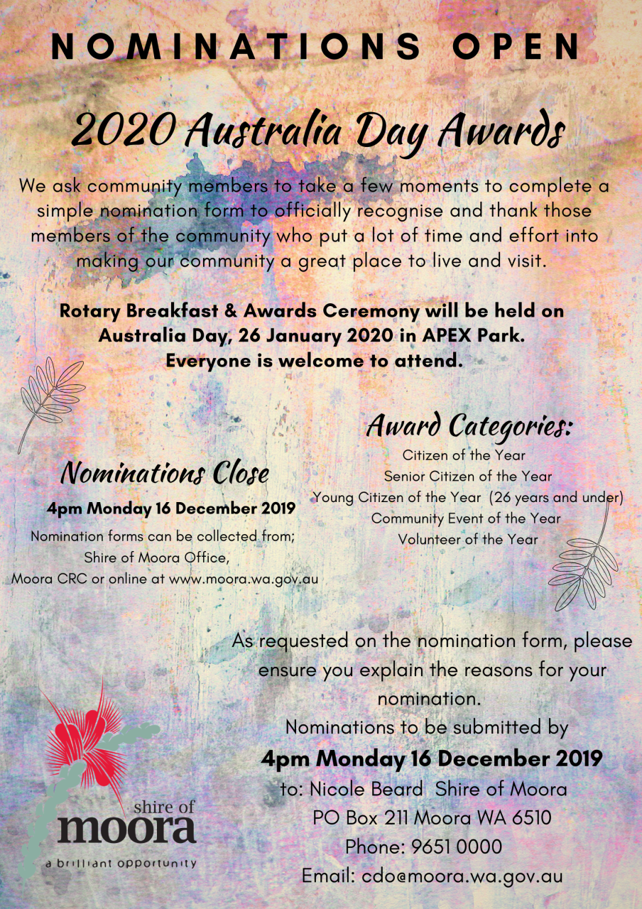 2020 AUSTRALIA DAY AWARDS NOMINATIONS OPEN