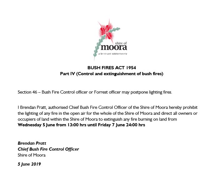 Residents please be aware: Prohibit placed on the lighting of any fires