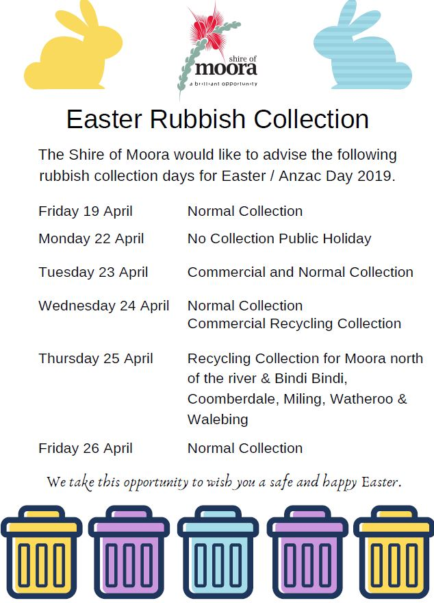 Easter & ANZAC day Rubbish Collection