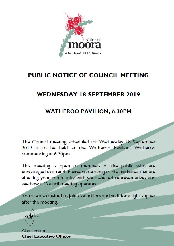 PUBLIC NOTICE OF COUNCIL MEETING